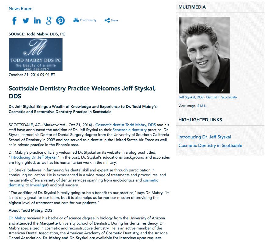 cosmetic dentist, Scottsdale dentistry, Dr. Jeff Styskal, cosmetic dentistry, Invisalign, Dr. Mabry